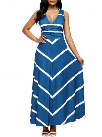 Sale Back Cut Out Chevron Stripe Maxi Dress - 2XL BLUE Mobile