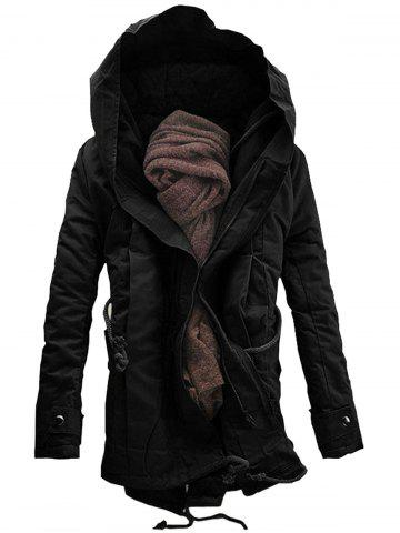 Chic Double Zip Up Hooded Padded Parka Coat - 4XL BLACK Mobile