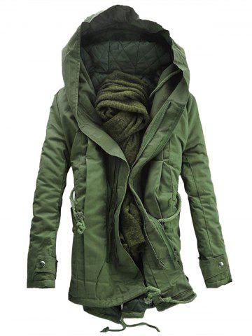 Outfit Double Zip Up Hooded Padded Parka Coat - 3XL ARMY GREEN Mobile