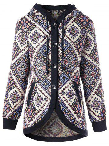 Shops Hooded Buttons Geometric Coat - M COLORMIX Mobile
