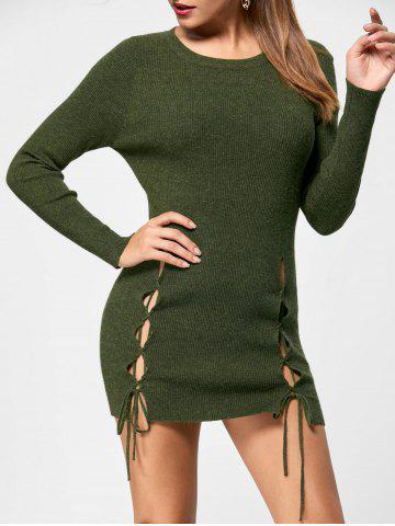 Sale Lace Up Jumper Dress OLIVE GREEN S