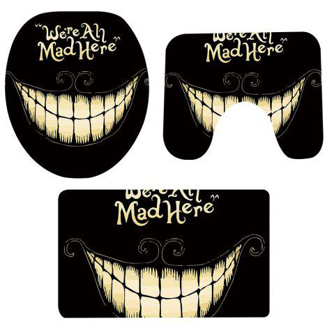 Tapis Toilette 3 Pcs Halloween Motif Dents Antidérapant