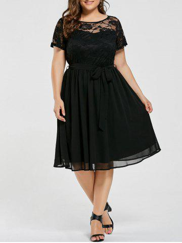 Discount Plus Size Overlay Lace Panel Dress