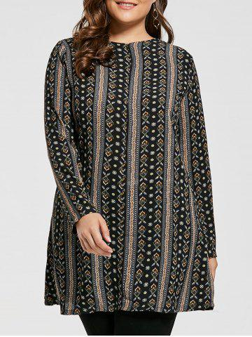 Buy Plus Size Bohemian Printed Tunic Dress with Sleeves