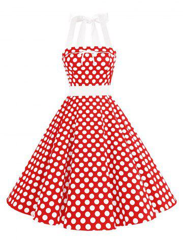 Outfits Vintage Bowknot Backless Halter Pinup Dress