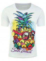 Sun Beach Graphic T-shirt à l'ananas - Blanc XL