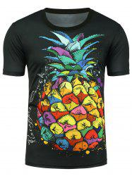 Graphic Pineapple Print T-shirt - BLACK M