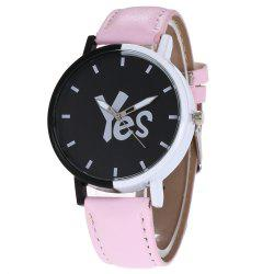 Yes Face Faux Leather Watch