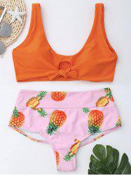 Pineapple High Waist Bralette Bikini Set