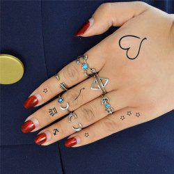 Vintage Love Arrow Moon Cuff Ring Set
