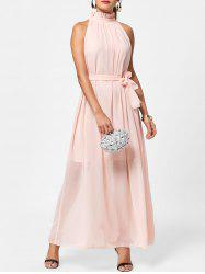 Long Chiffon Ruff Collar Prom Dress