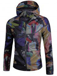 Color Block Graphic Print Zip Up Mesh Windbreaker