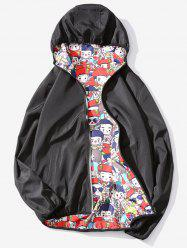 Cartoon Print Reversible Style Zip Up Jacket