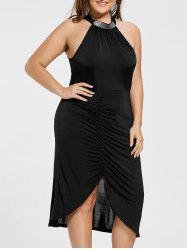 Plus Size Sleeveless Ruched Formal Dress