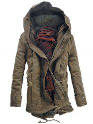 Double Zip Up Hooded Padded Parka Coat - DARK KHAKI
