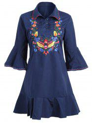 Plus Size Bell Sleeve Floral Embroidered Dress