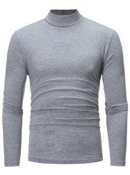 Cotton Blends Turtle Neck Long Sleeve T-shirt