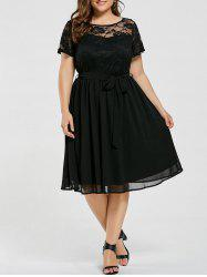 Plus Size Overlay Lace Panel Dress