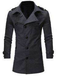 Single Breasted Epaulet Woolen Coat
