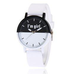Girl Letter Face Silicone Strap Watch