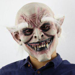 White Brow Monster Printed Halloween Mask With Wig