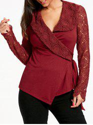 Plunging Neck Long Sleeve Lace Panel Wrap Top