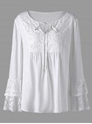 Plus Size Layered Sleeve Lace Trim Blouse