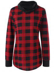 Plus Size Plaid Cowl Neck Long Sleeve Top