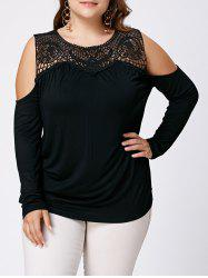 Open Shoulder Plus Size Hollow Out Top