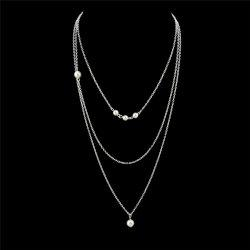 Faux Pearl Chain Layered Pendant Necklace