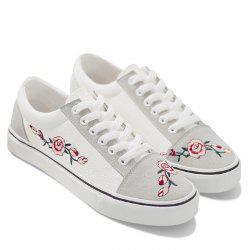 Flower Embroidered Canvas Shoes - WHITE 37