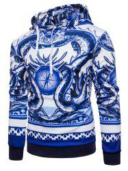 3D Dragon Compass Print Pullover Hoodie