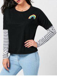 Half Rainbow Stripe Panel Long Sleeve T-shirt
