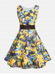 Butterfly Print Sleeveless Pin Up Dress