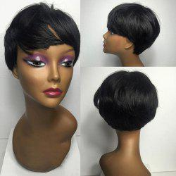 Short Inclined Bang Silky Straight Synthetic Wig