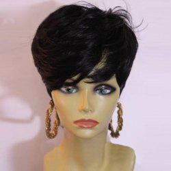 Short Layered Side Bang Slightly Curly Synthetic Wig -