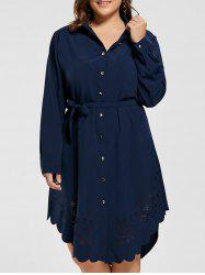 Openwork Scalloped Plus Size Shirt Dress with Sleeves
