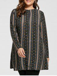 Plus Size Bohemian Printed Tunic Dress with Sleeves