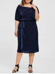 Plus Size Batwing Sleeve Pleated Dress