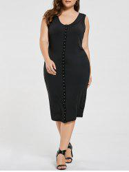 Button Embellished Sleeveless Midi Plus Size Dress
