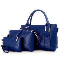 3 Pieces Faux Leather Handbag Set -