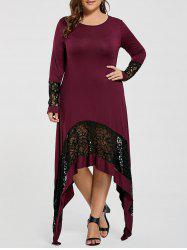 Plus Size Lace Trim Long Asymmetric T-shirt Dress
