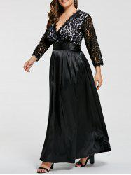 Lace Sleeve V Neck Plus Size Maxi Formal Dress