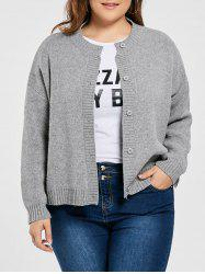 Plus Size Drop Shoulder Button Up Cardigan