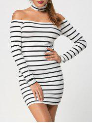 Striped Long Sleeve Tight Choker Dress