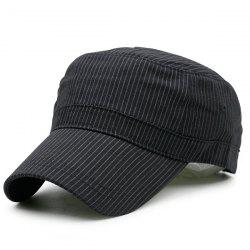 Flat Top Pinstriped Military Hat