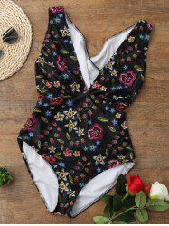 One Piece Tiny Floral Printed Plunging Swimwear