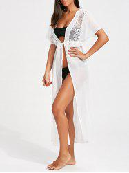 Lace Insert High Slit Long Cover-Up Dress - WHITE S