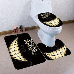 Nonslip 3Pcs Halloween Mouth Pattern Bath Toilet Mat - BLACK