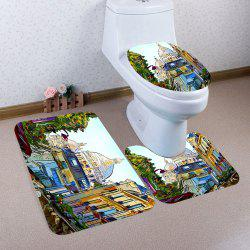 Nonslip European Architecture Print 3Pcs Bathroom Mats Set -